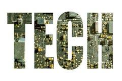 Simbolo di tecnologia con fondo elettronico Fotografia Stock