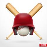 Simbolo di un baseball. Casco, palla e due pipistrelli. Vettore. Fotografie Stock