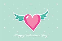 Simbolo di un cuore con le ali su un fondo blu Fotografie Stock Libere da Diritti