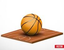 Simbolo di un gioco di pallacanestro e di un campo. illustrazione di stock