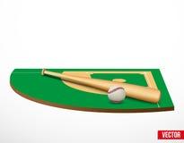 Simbolo di un gioco e di un campo di baseball. Fotografia Stock