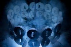 Simbolo di valuta cripto di Litecoin coperto in nebbia scura di inverno fotografie stock