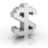 Simbolo di valuta del dollaro che fa da Toy Blocks Fotografia Stock