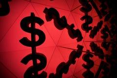 Simbolo di valuta del dollaro con molte immagini rispecchiantesi di se stesso fotografia stock