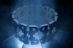 Simbolo di valuta della rublo russa coperto in nebbia scura di inverno immagini stock