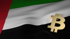 Simbolo di valuta di Bitcoin sulla bandiera degli Emirati Arabi Uniti Fotografie Stock Libere da Diritti