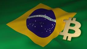 Simbolo di valuta di Bitcoin sulla bandiera del Brasile Fotografie Stock Libere da Diritti