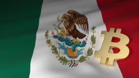 Simbolo di valuta di Bitcoin sulla bandiera del Messico Fotografie Stock Libere da Diritti