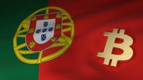 Simbolo di valuta di Bitcoin sulla bandiera del Portogallo Fotografia Stock