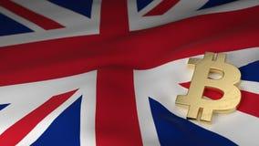 Simbolo di valuta di Bitcoin sulla bandiera del Regno Unito Immagine Stock Libera da Diritti