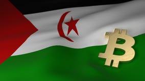 Simbolo di valuta di Bitcoin sulla bandiera del Sahara occidentale Fotografia Stock Libera da Diritti