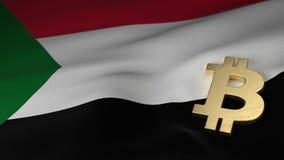 Simbolo di valuta di Bitcoin sulla bandiera del Sudan illustrazione vettoriale