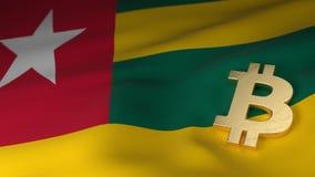 Simbolo di valuta di Bitcoin sulla bandiera del Togo Immagine Stock Libera da Diritti