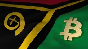 Simbolo di valuta di Bitcoin sulla bandiera del Vanuatu Immagine Stock