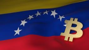 Simbolo di valuta di Bitcoin sulla bandiera del Venezuela Fotografie Stock Libere da Diritti