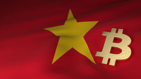 Simbolo di valuta di Bitcoin sulla bandiera del Vietnam Immagini Stock