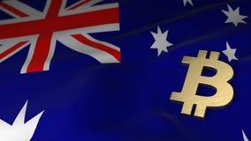 Simbolo di valuta di Bitcoin sulla bandiera dell'Australia Fotografia Stock Libera da Diritti