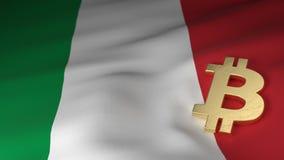Simbolo di valuta di Bitcoin sulla bandiera dell'Italia Immagine Stock Libera da Diritti