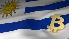 Simbolo di valuta di Bitcoin sulla bandiera dell'Uruguay Fotografia Stock Libera da Diritti