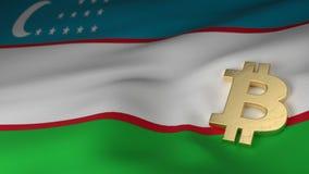 Simbolo di valuta di Bitcoin sulla bandiera dell'Uzbekistan Immagini Stock Libere da Diritti