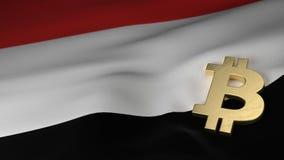 Simbolo di valuta di Bitcoin sulla bandiera dell'Yemen Fotografia Stock