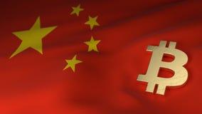 Simbolo di valuta di Bitcoin sulla bandiera della Cina Fotografie Stock Libere da Diritti