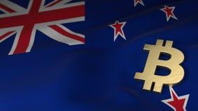 Simbolo di valuta di Bitcoin sulla bandiera della Nuova Zelanda Fotografia Stock