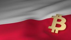 Simbolo di valuta di Bitcoin sulla bandiera della Polonia Fotografia Stock