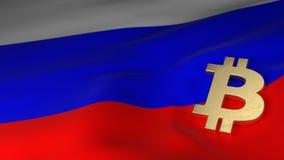 Simbolo di valuta di Bitcoin sulla bandiera della Russia Fotografie Stock Libere da Diritti