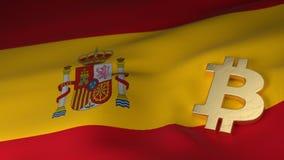 Simbolo di valuta di Bitcoin sulla bandiera della Spagna Fotografia Stock Libera da Diritti