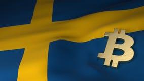 Simbolo di valuta di Bitcoin sulla bandiera della Svezia Fotografie Stock Libere da Diritti