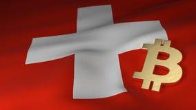 Simbolo di valuta di Bitcoin sulla bandiera della Svizzera fotografie stock