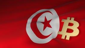 Simbolo di valuta di Bitcoin sulla bandiera della Tunisia Fotografia Stock