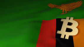 Simbolo di valuta di Bitcoin sulla bandiera dello Zambia Fotografia Stock