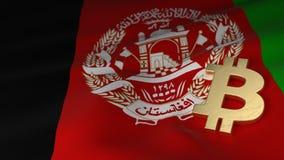 Simbolo di valuta di Bitcoin sulla bandiera di Afghanistan Immagini Stock Libere da Diritti