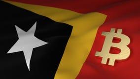 Simbolo di valuta di Bitcoin sulla bandiera di Timor-Est Immagini Stock Libere da Diritti