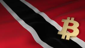 Simbolo di valuta di Bitcoin sulla bandiera di Trinidad e Tobago Fotografia Stock