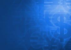Simbolo di valuta sul blu luminoso per fondo finanziario illustrazione vettoriale