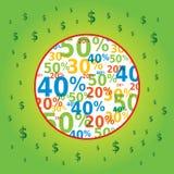 Simbolo di vendita nel cerchio con le icone del dollaro Immagine Stock Libera da Diritti