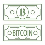Simbolo di verde della lettera di Bitcoin B disegnato come banconota del dollaro, linea illustrazione dell'icona di progettazione Immagini Stock