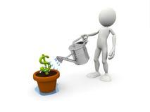 Simbolo di versamento del dollaro della persona Immagine Stock Libera da Diritti