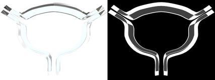 Simbolo di vetro della vescica con fondo bianco fotografia stock libera da diritti