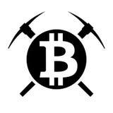 Simbolo di vettore di estrazione mineraria del bitcoin di cryptocurrency Fotografia Stock Libera da Diritti