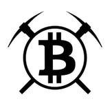 Simbolo di vettore di estrazione mineraria del bitcoin di cryptocurrency Immagine Stock