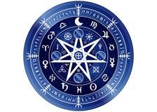 Simbolo di Wiccan di protezione rune blu di Mandala Witches, divinazione mistica di Wicca Simboli occulti antichi, segni della ru illustrazione di stock