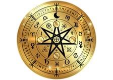 Simbolo di Wiccan di protezione Rune di Mandala Witches dell'oro, divinazione mistica di Wicca Simboli occulti antichi, ruota del illustrazione vettoriale