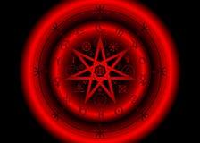Simbolo di Wiccan di protezione Rune rosse di Mandala Witches, divinazione mistica di Wicca Simboli occulti antichi, segni della  illustrazione vettoriale