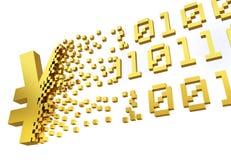 Simbolo di Yen dei soldi elettronici Fotografia Stock Libera da Diritti