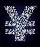 Simbolo di Yen in diamanti Fotografia Stock Libera da Diritti
