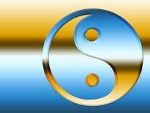 Simbolo di Yin Yang dell'oro e dell'azzurro Fotografia Stock Libera da Diritti